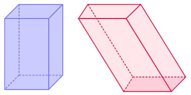 Paralelepípedo reto à esquerda e oblíquo à direita
