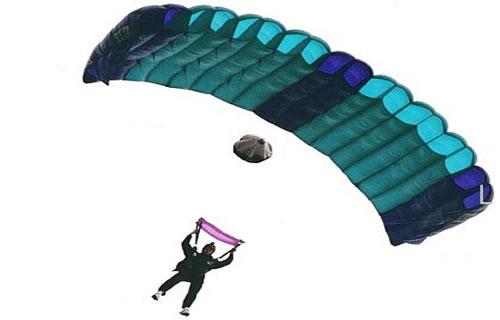 Paraquedista planando em razão da força de resistência do ar