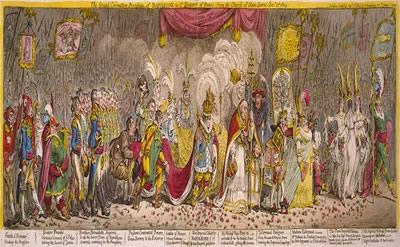 Paródia de James Gillray sobre a coroação de Napoleão Bonaparte.*