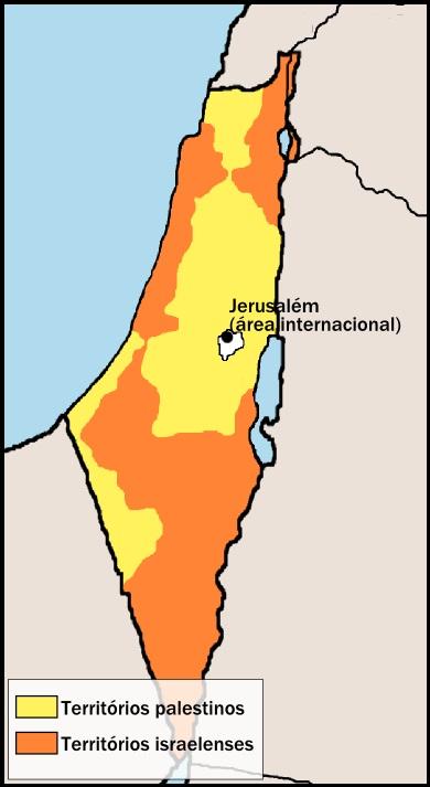 Mapa das divisões estabelecidas pela Partilha da ONU em 1947