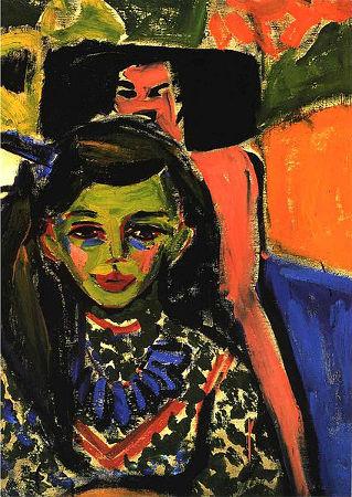 """""""Fränzi perante uma cadeira talhada"""", de Ernst Ludwing Kirchner, 1910"""