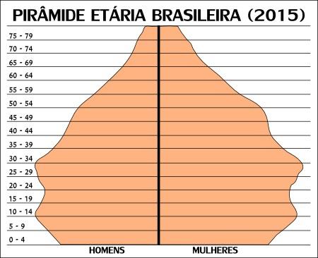Pirâmide etária brasileira nos dias atuais *