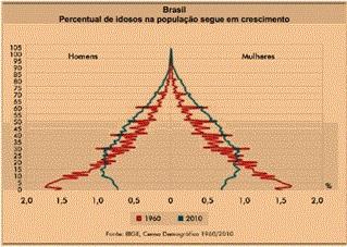 Gráfico da pirâmide etária brasileira