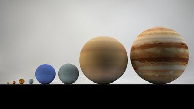 Esquema com o tamanho proporcional dos planetas