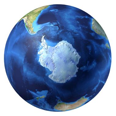 Área geográfica do polo sul, com ênfase na Antártida