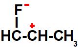 Representação dos polos formados na estrutura do 1-flúor-propeno
