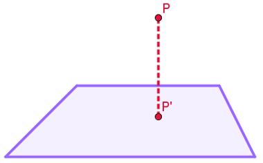 Projeção ortogonal P do ponto P sobre o plano