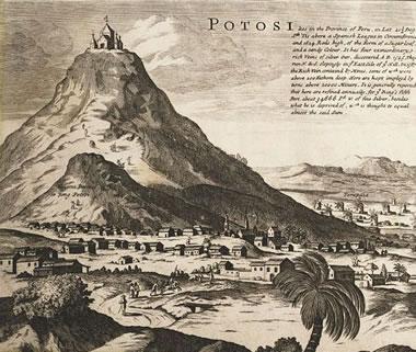 Gravura de Potosí, localizada no Vice-reino do Peru, durante a colonização espanhola