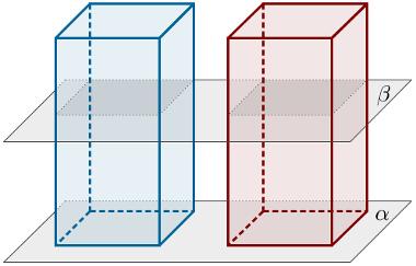 Dois prismas distintos que possuem área da base e altura congruentes