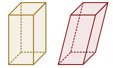 À esquerda, um exemplo de prisma reto; à direita, um exemplo de prisma oblíquo