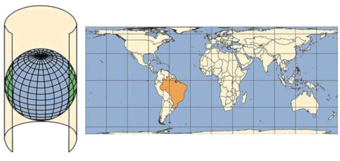 Projeções cilíndricas representam normalmente o mapa-múndi. Fonte: Instituto Brasileiro de Geografia e Estatística.