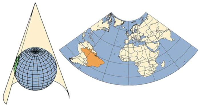 Projeção cônica representa regiões continentais. Fonte: Instituto Brasileiro de Geografia e Estatística.