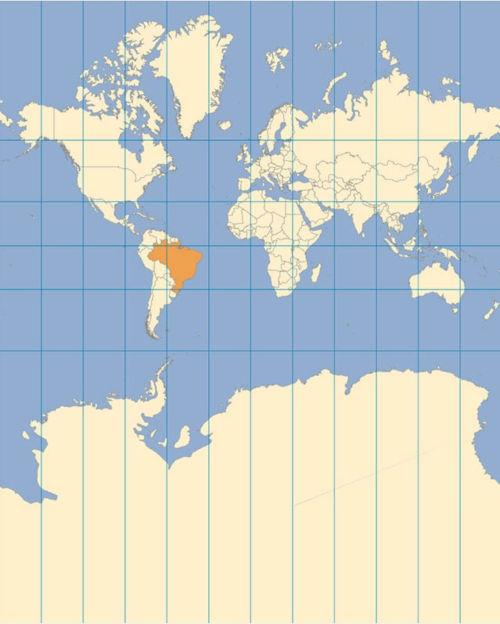 Projeção de Mercator. Fonte: Instituto Brasileiro de Geografia e Estatística.