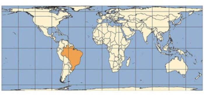 Projeção de Peters. Fonte: Instituto Brasileiro de Geografia e Estátistica