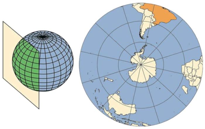 Projeção plana representa pequenas áreas. Fonte: Instituto Brasileiro de Geografia e Estatística.