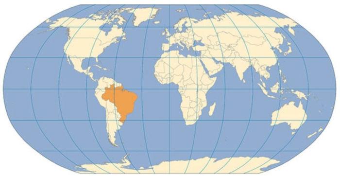Projeção de Robinson. Fonte: Instituto Brasileiro de Geografia e Estatística.