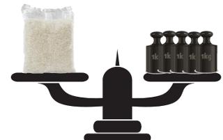 Ilustração de relação entre a massa de um pacote de arroz e o quilograma-padrão