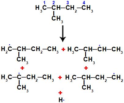 Possíveis radicais orgânicos formados a partir do 2-metil-butano