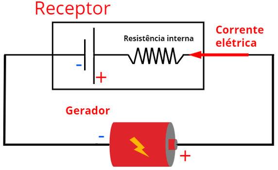 Receptores são esquematizados por duas barras paralelas de tamanhos distintos. Neles, a corrente elétrica sempre flui do terminal positivo para o terminal negativo.