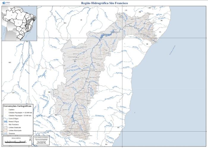 Mapa da região hidrográfica do Rio São Francisco. (Fonte: Agência Nacional das Águas / IBGE)