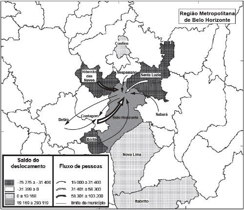 Mapa do fluxo migratório da Região Metropolitana de Belo Horizonte