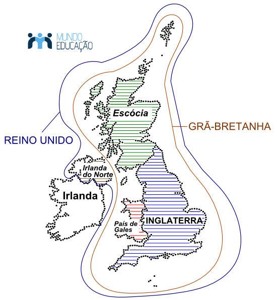 Mapa explicativo da diferença entre Reino Unido, Grã-Bretanha e Inglaterra