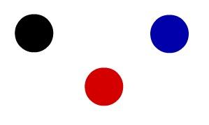 Na imagem, temos um átomo preto, um azul e outro vermelho; logo, temos três elementos químicos diferentes representados
