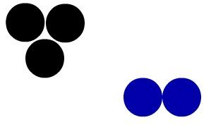 Representação de duas moléculas diferentes segundo o modelo de Dalton