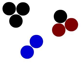 Imagem que apresenta três moléculas diferentes, logo representa três substâncias diferentes