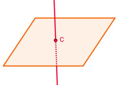 Ilustração de uma reta secante ao plano: reta que o toca apenas em um ponto