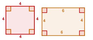 Comparação entre um retângulo e um quadrado