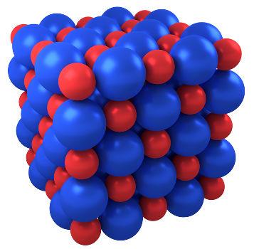 Representação do retículo cristalino de um sal qualquer
