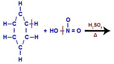 Quebra de ligações entre grupos fundamentais na nitração