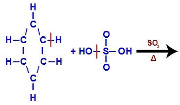 Quebra de ligações entre grupos fundamentais na sulfonação