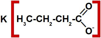 Estrutura de um sal de ácido carboxílico com quatro carbonos