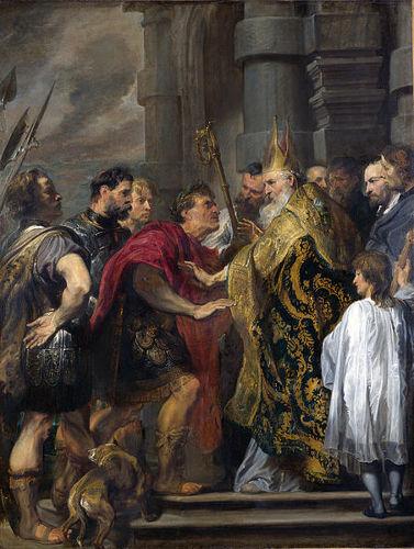 Santo Ambrósio impedindo Teodósio de assistir à missa. Tela de Antoon Van Dyck