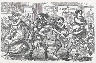 Gravura de John Leech (1817-1864) mostrando satiricamente o Rapto das Sabinas para o livro A História Cômica de Roma
