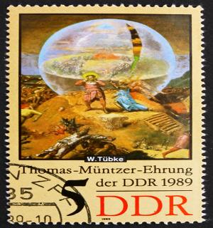Selo da República Democrática da Alemanha homenageando Thomas Müntzer