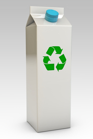 Símbolo de reciclagem em embalagem cartonada