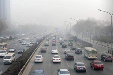 Smog fotoquímico em 12 de janeiro de 2013, em Pequim, China *