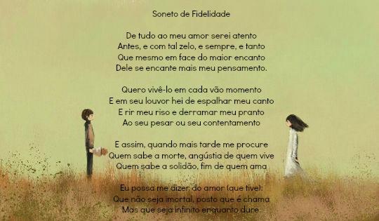 """""""(...) Que não seja imortal, posto que é chama/Mas que seja infinito enquanto dure"""". Soneto de fidelidade, Vinícius de Moraes"""