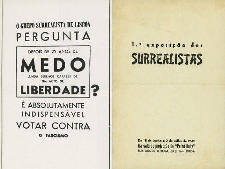 À esquerda, cartaz da 1ª Exposição do Grupo Surrealista de Lisboa proibido pela censura. À direita, o cartaz veiculado