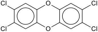 Estrutura da principal dioxina: TCDD