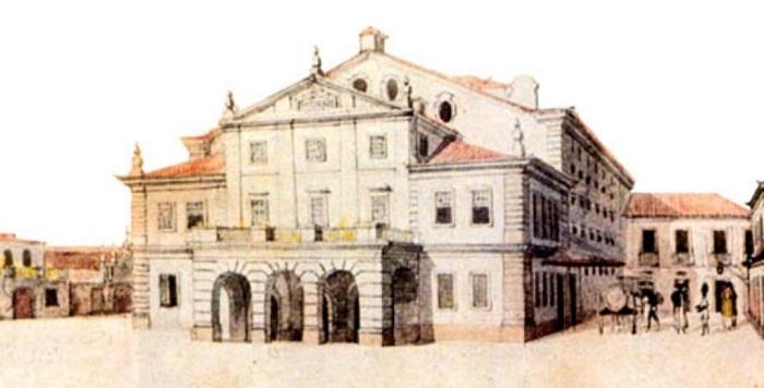 """Teatro São Pedro de Alcântara, que ficou conhecido em 1831 como """"Teatro Constitucional"""""""