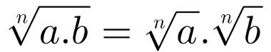 A raiz do produto é igual ao produto das raízes