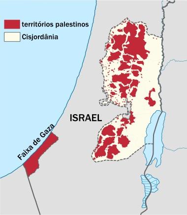 Mapa atual dos territórios palestinos, totalmente fragmentados e sem autonomia ²