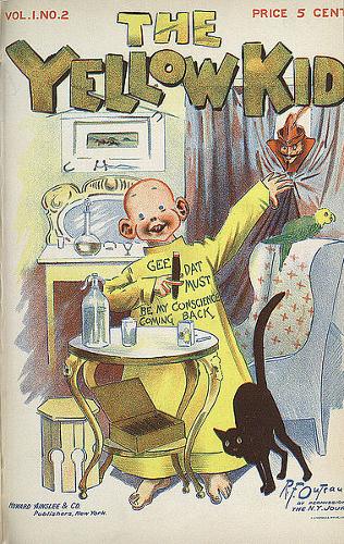 The Yellow Kid, do artista americano Richard Outcault, inaugurou a publicação dos quadrinhos em jornais *1