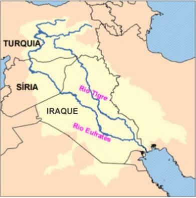 Mapa com localização dos Rios Tigre e Eufrates, que nascem na Turquia