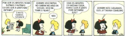 """Legenda: Na linguagem coloquial, o termo """"a gente"""" é aceito pelos falantes, transformando-se em erro apenas na linguagem culta. Tirinha Mafalda, de Quino"""