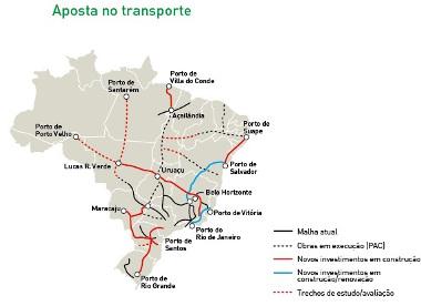 Mapa do investimento no transporte ferroviário no Brasil